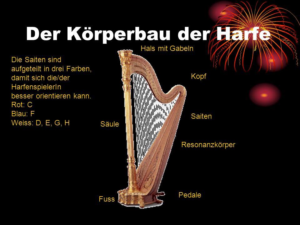 Der Körperbau der Harfe Kopf Resonanzkörper Pedale Fuss Säule Hals mit Gabeln Saiten Die Saiten sind aufgeteilt in drei Farben, damit sich die/der Har