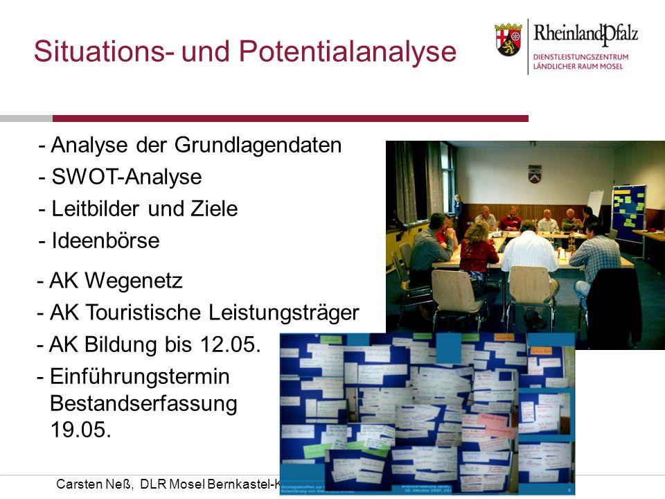 Carsten Neß, DLR Mosel Bernkastel-Kues Situations- und Potentialanalyse - Analyse der Grundlagendaten -SWOT-Analyse -Leitbilder und Ziele -Ideenbörse