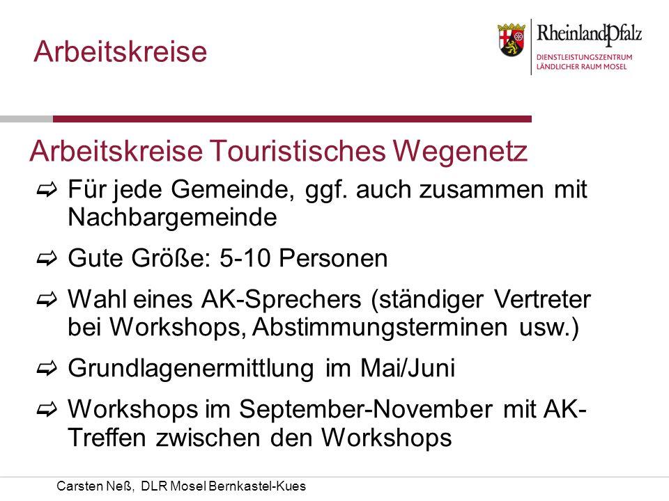Arbeitskreise Touristisches Wegenetz Für jede Gemeinde, ggf. auch zusammen mit Nachbargemeinde Gute Größe: 5-10 Personen Wahl eines AK-Sprechers (stän