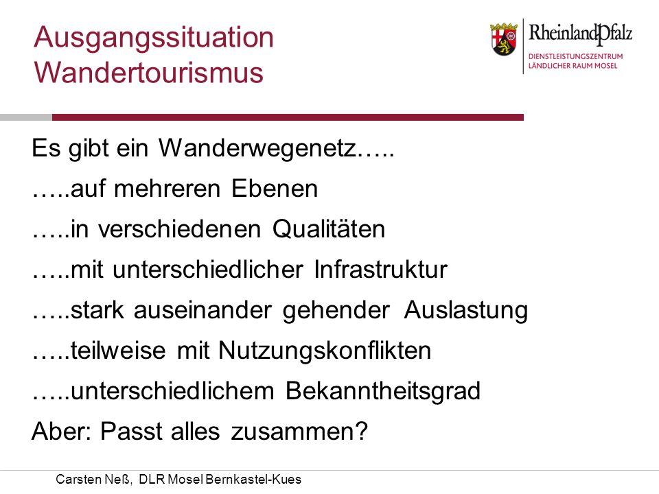 Carsten Neß, DLR Mosel Bernkastel-Kues Es gibt ein Wanderwegenetz….. …..auf mehreren Ebenen …..in verschiedenen Qualitäten …..mit unterschiedlicher In