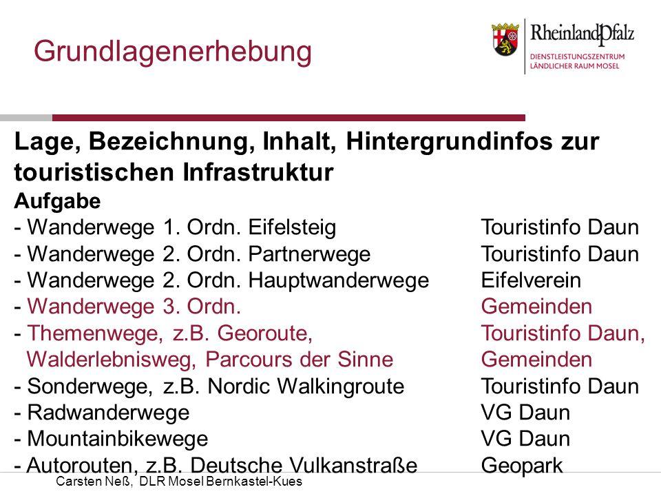 Grundlagenerhebung Lage, Bezeichnung, Inhalt, Hintergrundinfos zur touristischen Infrastruktur AufgabeKümmerer - Wanderwege 1. Ordn. EifelsteigTourist