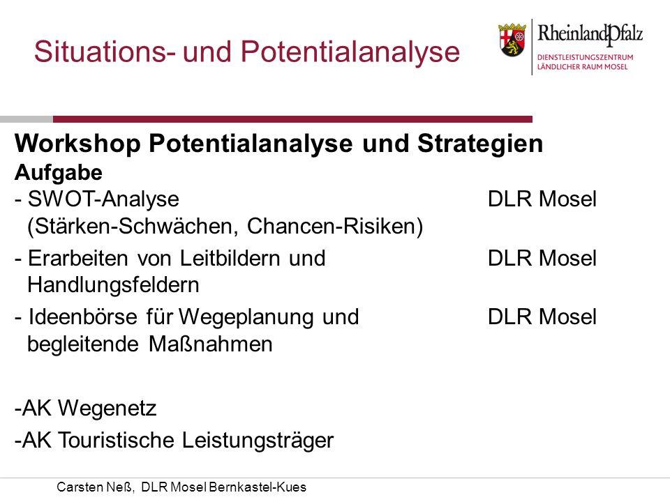 Carsten Neß, DLR Mosel Bernkastel-Kues Situations- und Potentialanalyse Workshop Potentialanalyse und Strategien AufgabeKümmerer - SWOT-Analyse DLR Mo