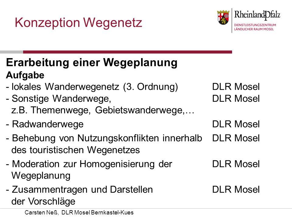 Carsten Neß, DLR Mosel Bernkastel-Kues Konzeption Wegenetz Erarbeitung einer Wegeplanung AufgabeKümmerer - lokales Wanderwegenetz (3. Ordnung) DLR Mos