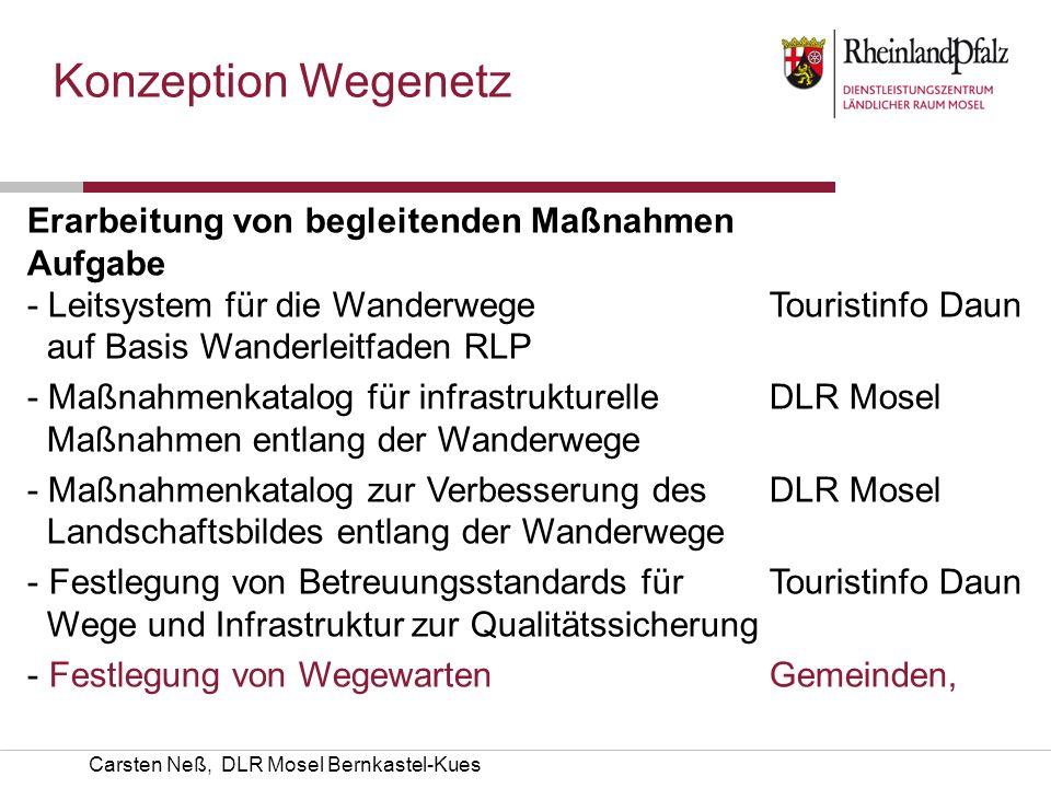 Carsten Neß, DLR Mosel Bernkastel-Kues Konzeption Wegenetz Erarbeitung von begleitenden Maßnahmen AufgabeKümmerer - Leitsystem für die Wanderwege Tour
