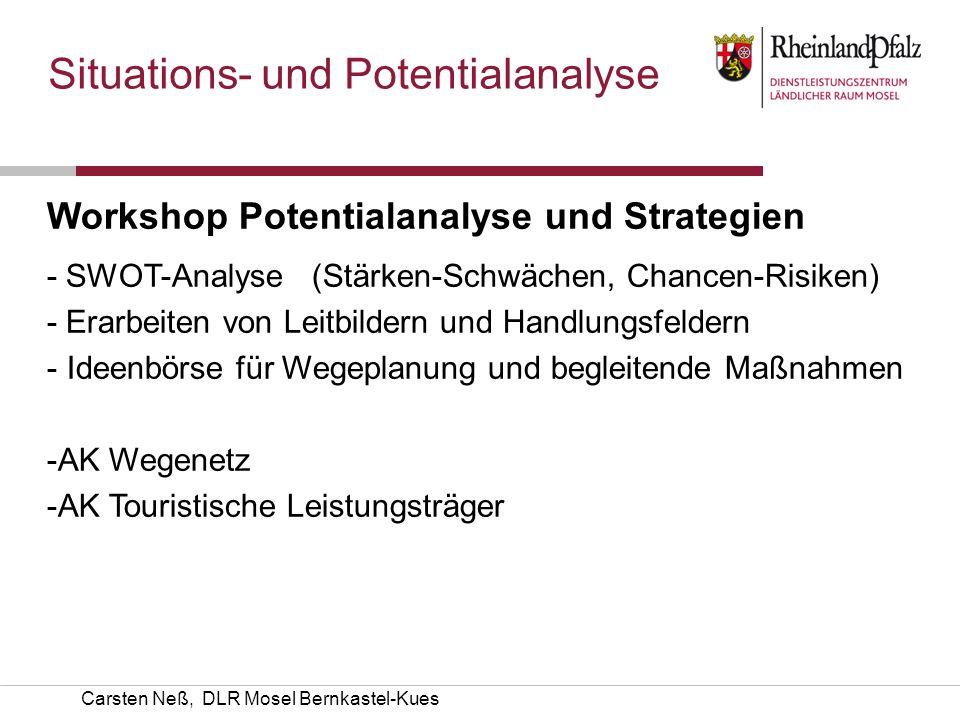 Carsten Neß, DLR Mosel Bernkastel-Kues Situations- und Potentialanalyse Workshop Potentialanalyse und Strategien - SWOT-Analyse (Stärken-Schwächen, Ch