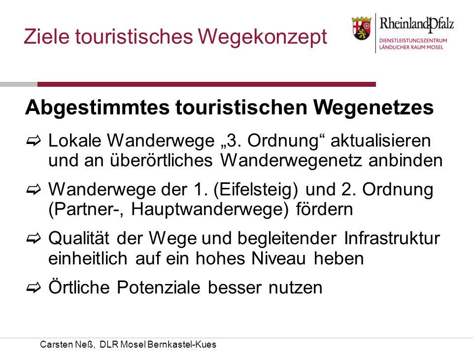 Carsten Neß, DLR Mosel Bernkastel-Kues Ziele touristisches Wegekonzept Abgestimmtes touristischen Wegenetzes Lokale Wanderwege 3. Ordnung aktualisiere
