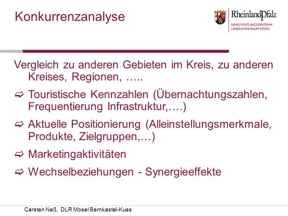 Carsten Neß, DLR Mosel Bernkastel-Kues Vergleich zu anderen Gebieten im Kreis, zu anderen Kreises, Regionen, ….. Touristische Kennzahlen (Übernachtung