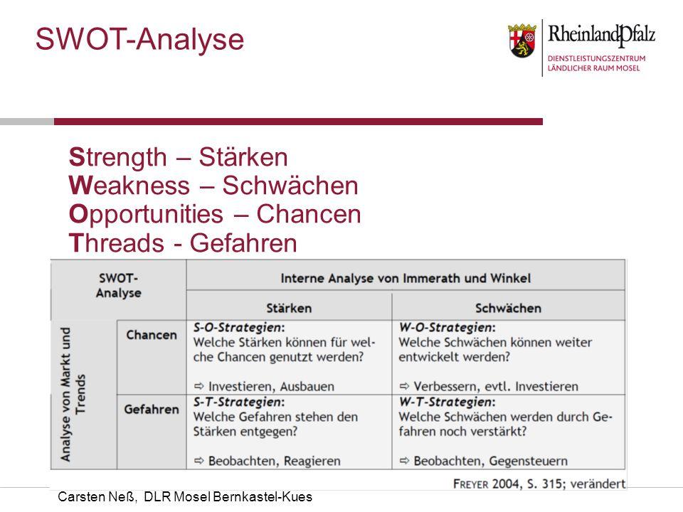 Carsten Neß, DLR Mosel Bernkastel-Kues SWOT-Analyse Strength – Stärken Weakness – Schwächen Opportunities – Chancen Threads - Gefahren