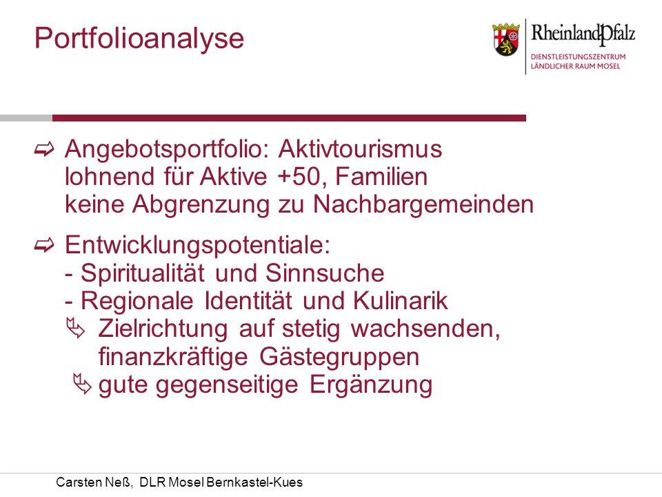 Carsten Neß, DLR Mosel Bernkastel-Kues Portfolioanalyse Angebotsportfolio: Aktivtourismus lohnend für Aktive +50, Familien keine Abgrenzung zu Nachbar