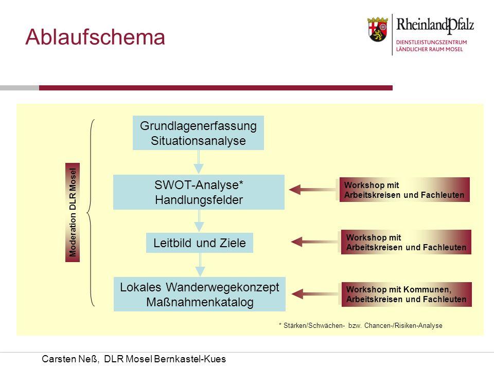 Carsten Neß, DLR Mosel Bernkastel-Kues Grundlagenerfassung Situationsanalyse Workshop mit Arbeitskreisen und Fachleuten * Stärken/Schwächen- bzw. Chan