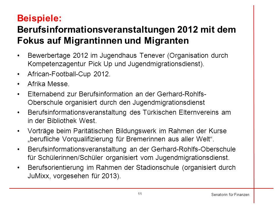 Senatorin für Finanzen Beispiele: Berufsinformationsveranstaltungen 2012 mit dem Fokus auf Migrantinnen und Migranten Bewerbertage 2012 im Jugendhaus