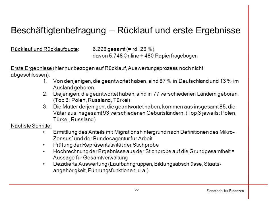 Beschäftigtenbefragung – Rücklauf und erste Ergebnisse Rücklauf und Rücklaufquote: 6.228 gesamt (= rd. 23 %) davon 5.748 Online + 480 Papierfragebögen