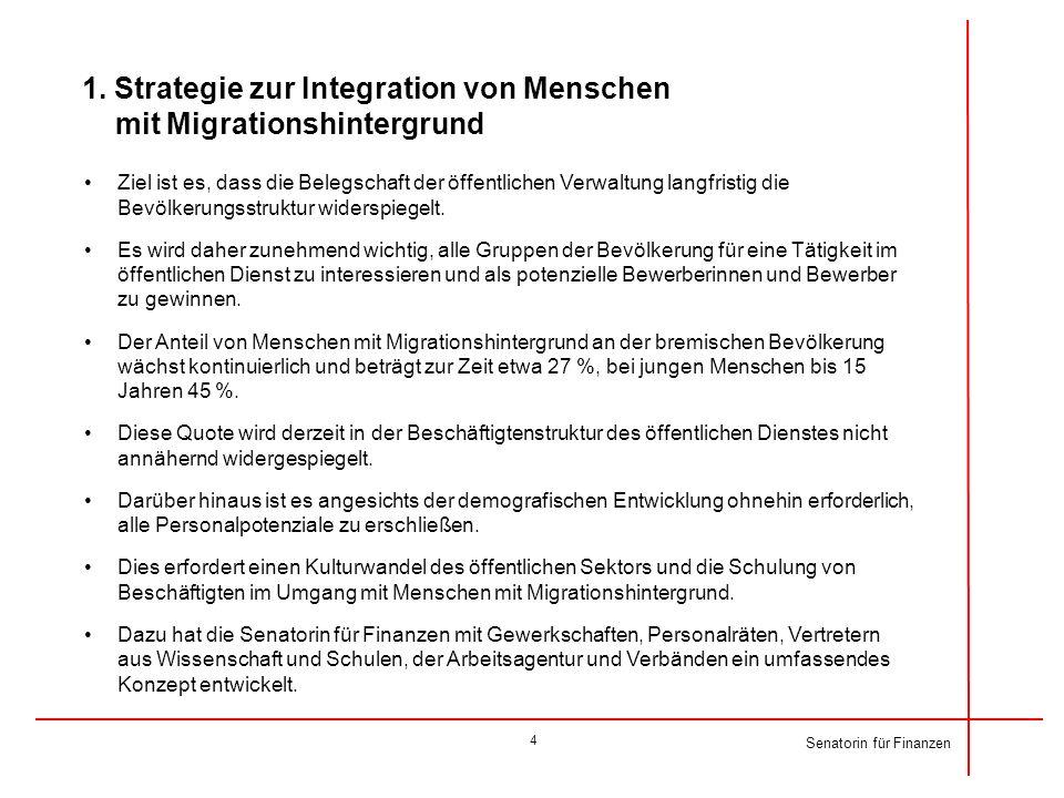 1. Strategie zur Integration von Menschen mit Migrationshintergrund Ziel ist es, dass die Belegschaft der öffentlichen Verwaltung langfristig die Bevö
