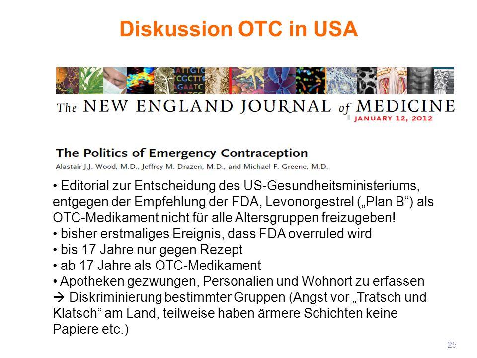 Diskussion OTC in USA 25 Editorial zur Entscheidung des US-Gesundheitsministeriums, entgegen der Empfehlung der FDA, Levonorgestrel (Plan B) als OTC-M