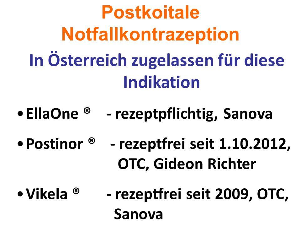 Postkoitale Notfallkontrazeption In Österreich zugelassen für diese Indikation EllaOne ® - rezeptpflichtig, Sanova Postinor ® - rezeptfrei seit 1.10.2