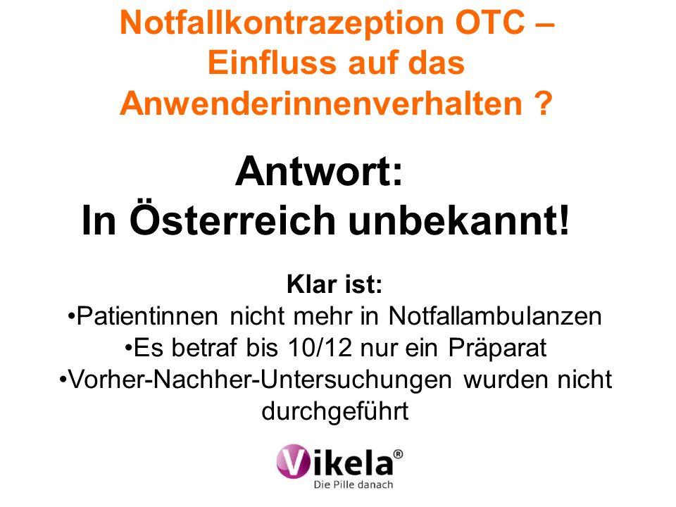 Notfallkontrazeption OTC – Einfluss auf das Anwenderinnenverhalten ? Antwort: In Österreich unbekannt! Klar ist: Patientinnen nicht mehr in Notfallamb