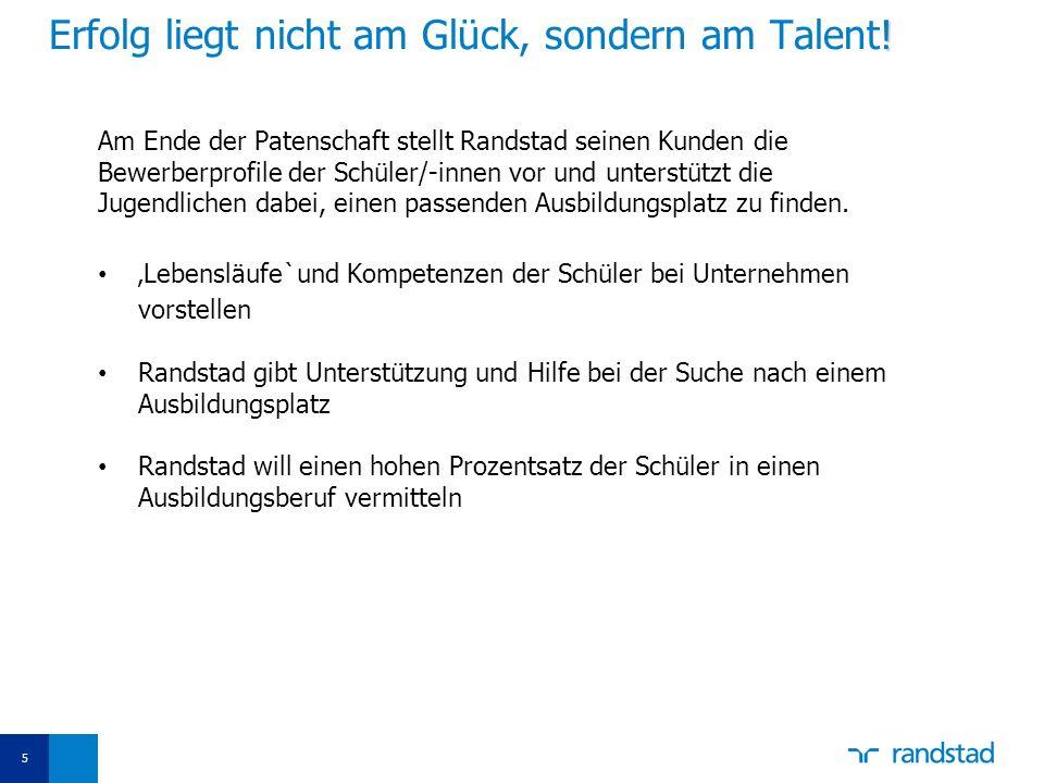 5 ! Erfolg liegt nicht am Glück, sondern am Talent! Am Ende der Patenschaft stellt Randstad seinen Kunden die Bewerberprofile der Schüler/-innen vor u
