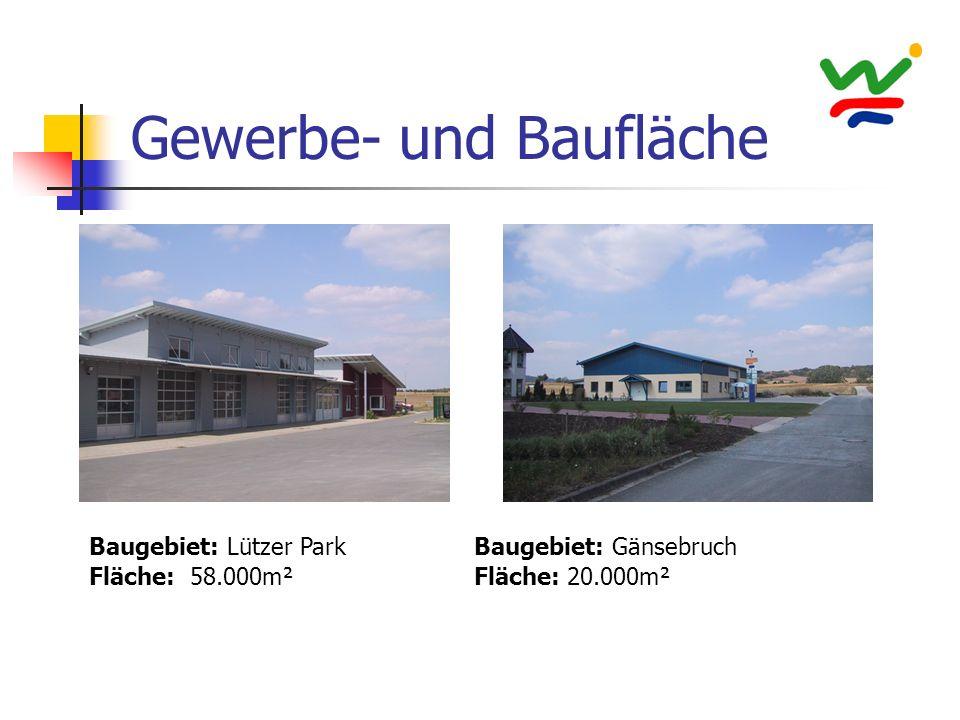 Gewerbe- und Baufläche Baugebiet: Lützer Park Fläche: 58.000m² Baugebiet: Gänsebruch Fläche: 20.000m²