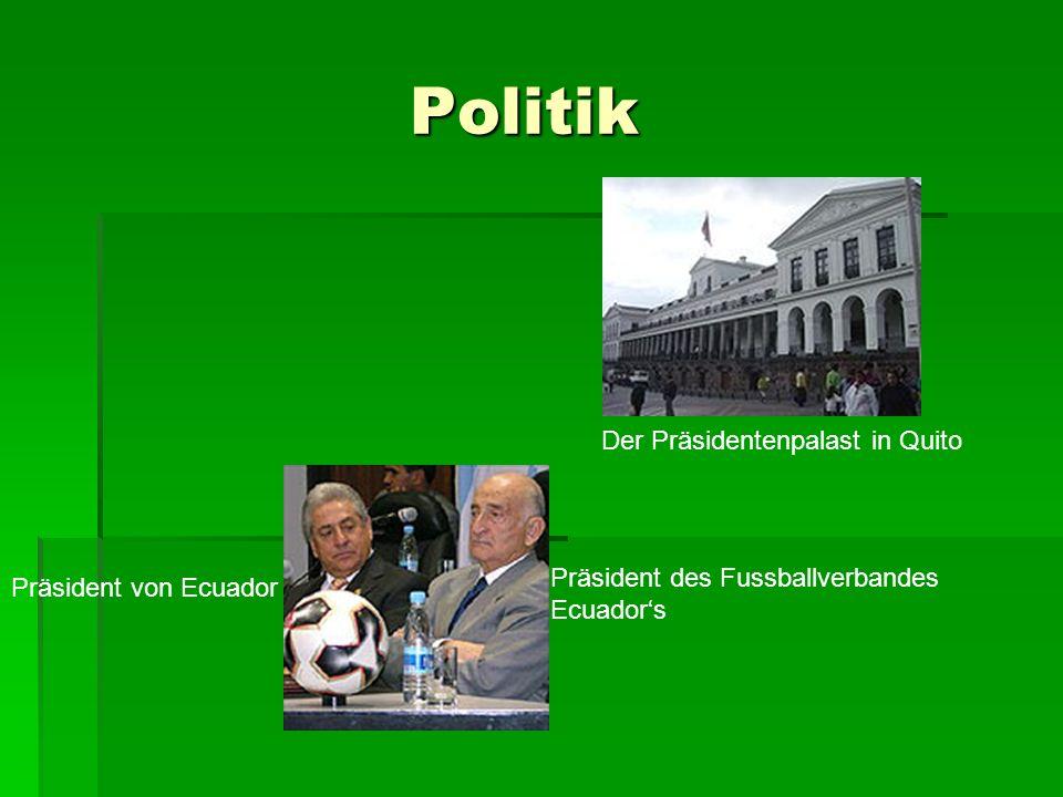 Politik Politik Der Präsidentenpalast in Quito Präsident von Ecuador Präsident des Fussballverbandes Ecuadors