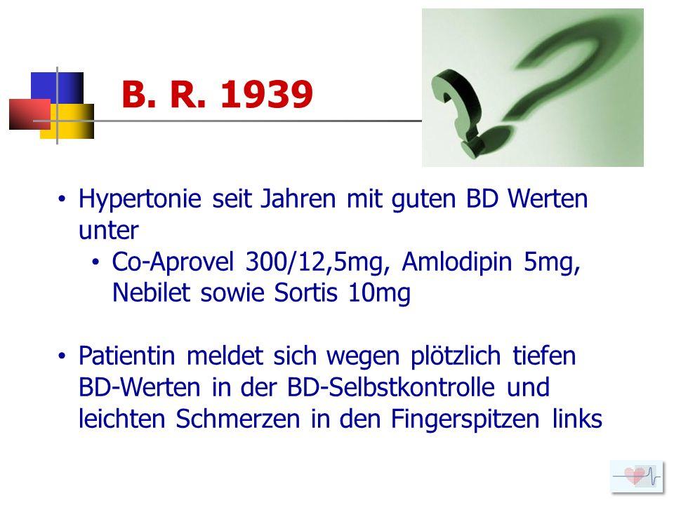 B. R. 1939 Hypertonie seit Jahren mit guten BD Werten unter Co-Aprovel 300/12,5mg, Amlodipin 5mg, Nebilet sowie Sortis 10mg Patientin meldet sich wege
