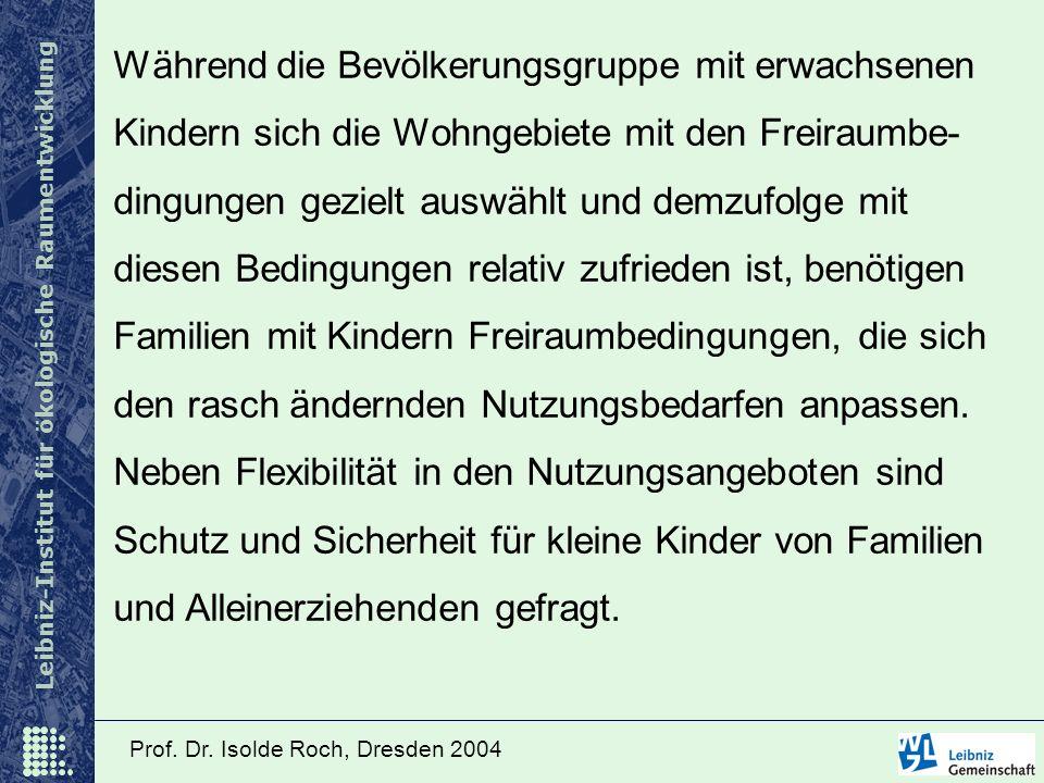 Leibniz-Institut für ökologische Raumentwicklung Prof. Dr. Isolde Roch, Dresden 2004 Während die Bevölkerungsgruppe mit erwachsenen Kindern sich die W