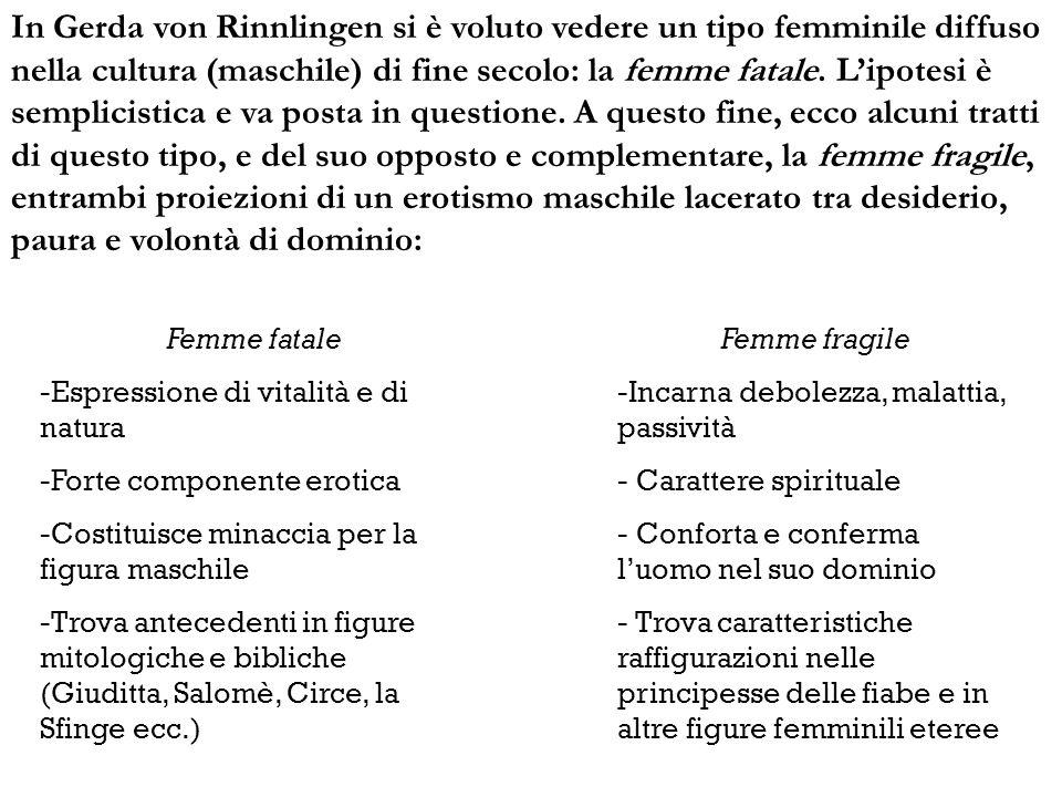 In Gerda von Rinnlingen si è voluto vedere un tipo femminile diffuso nella cultura (maschile) di fine secolo: la femme fatale. Lipotesi è semplicistic