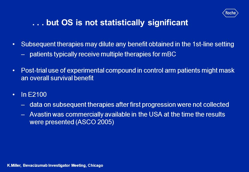 ... but OS is not statistically significant Subsequent therapies may dilute any benefit obtained in the 1st-line setting –patients typically receive m