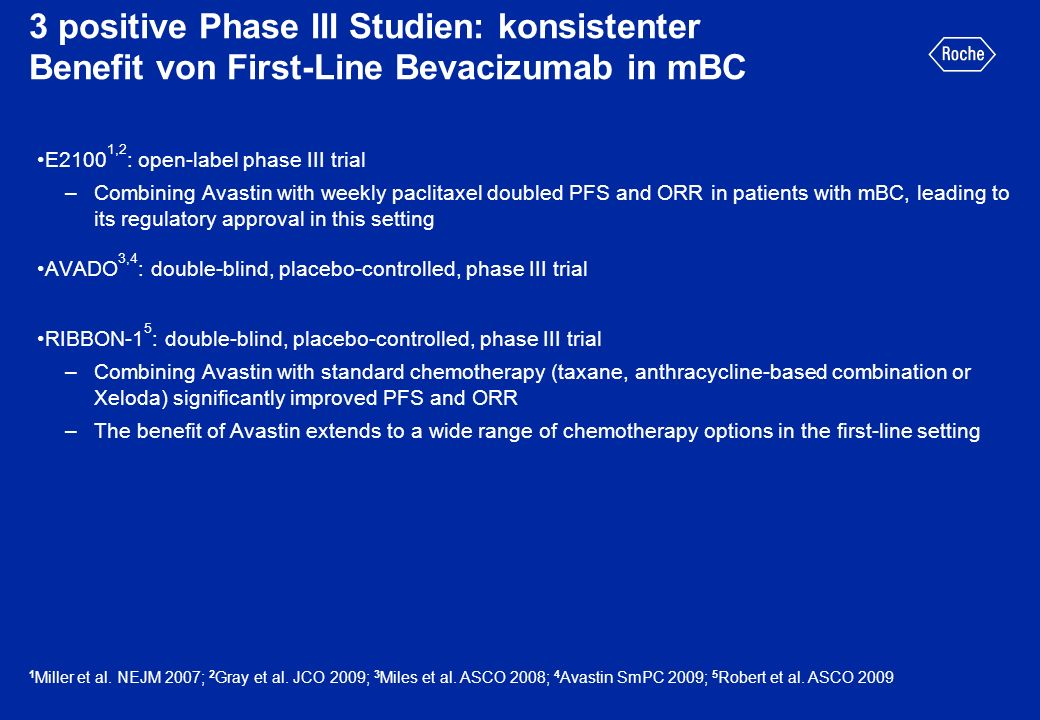3 positive Phase III Studien: konsistenter Benefit von First-Line Bevacizumab in mBC E2100 1,2 : open-label phase III trial –Combining Avastin with we