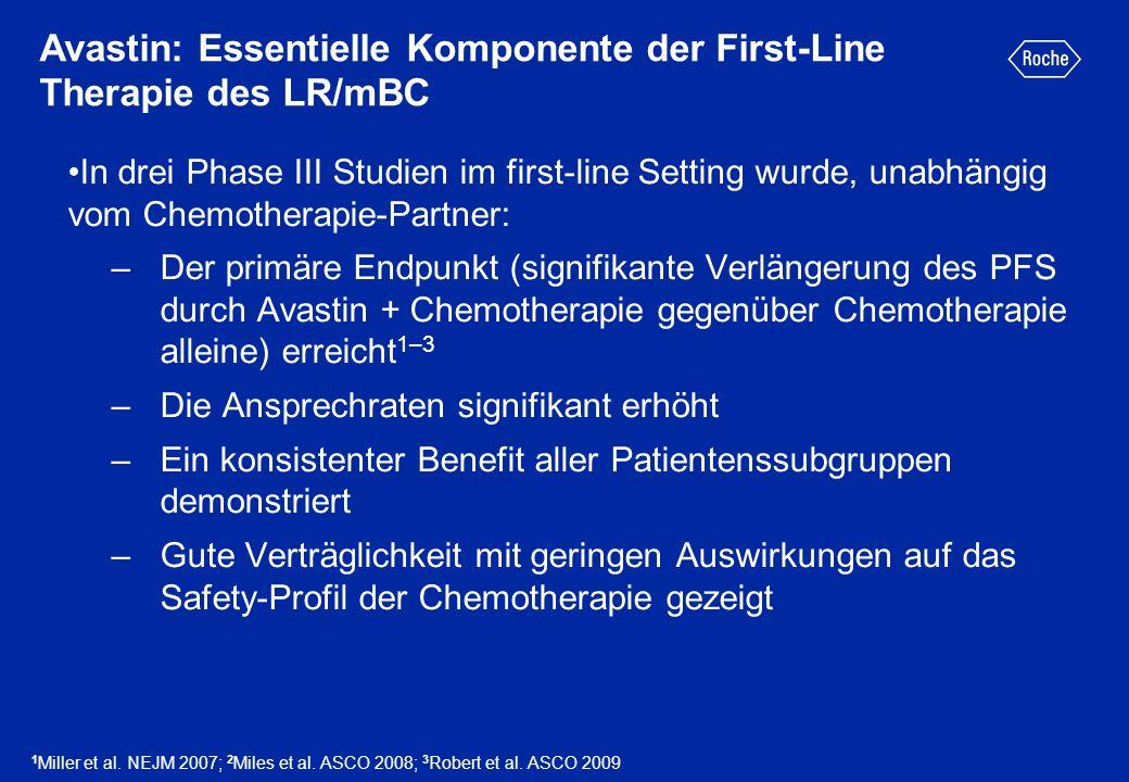 Avastin: Essentielle Komponente der First-Line Therapie des LR/mBC In drei Phase III Studien im first-line Setting wurde, unabhängig vom Chemotherapie