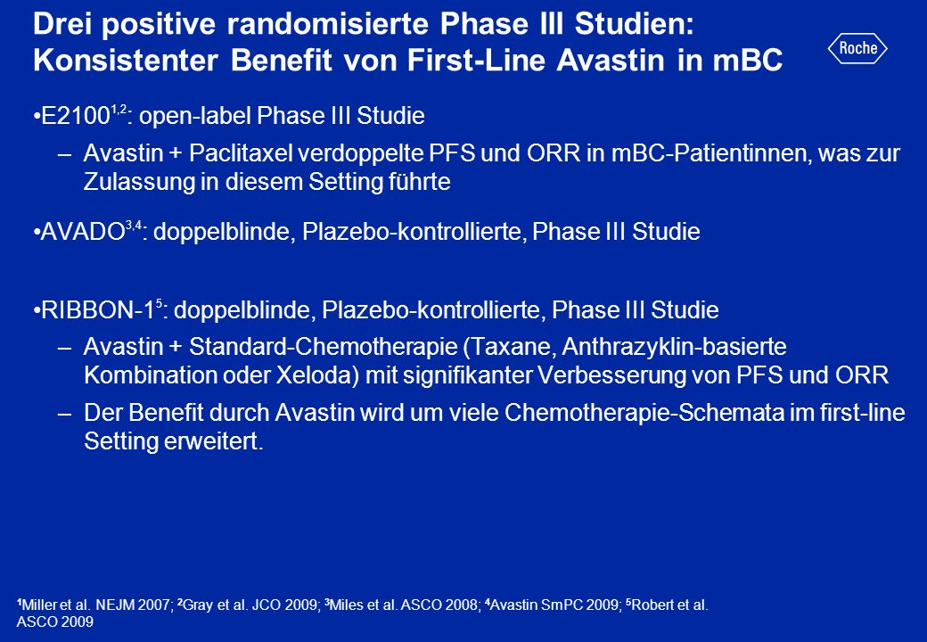 Drei positive randomisierte Phase III Studien: Konsistenter Benefit von First-Line Avastin in mBC E2100 1,2 : open-label Phase III Studie –Avastin + P
