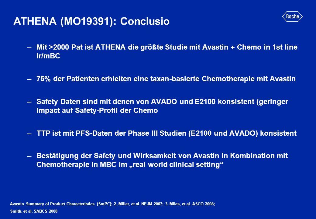 ATHENA (MO19391): Conclusio Avastin Summary of Product Characteristics (SmPC); 2. Miller, et al. NEJM 2007; 3. Miles, et al. ASCO 2008; Smith, et al.