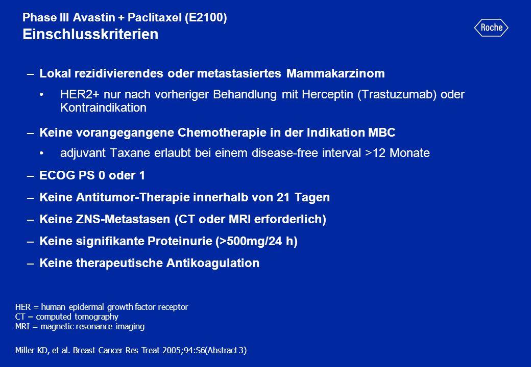 Phase III Avastin + Paclitaxel (E2100) Einschlusskriterien –Lokal rezidivierendes oder metastasiertes Mammakarzinom HER2+ nur nach vorheriger Behandlu
