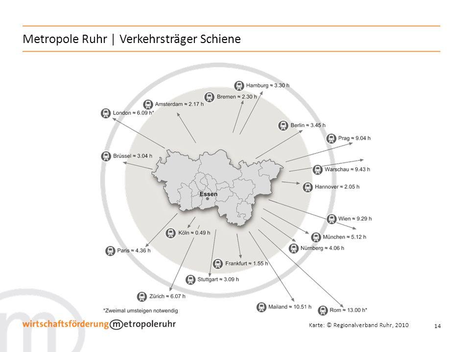 14 Metropole Ruhr   Verkehrsträger Schiene Karte: © Regionalverband Ruhr, 2010