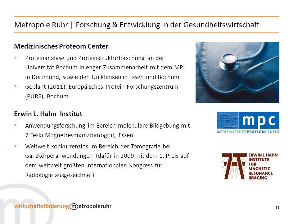 58 Metropole Ruhr   Forschung & Entwicklung in der Gesundheitswirtschaft Medizinisches Proteom Center Proteinanalyse und Proteinstrukturforschung an der Universität Bochum in enger Zusammenarbeit mit dem MPI in Dortmund, sowie den Unikliniken in Essen und Bochum Geplant (2011): Europäisches Protein Forschungszentrum (PURE), Bochum Erwin L.