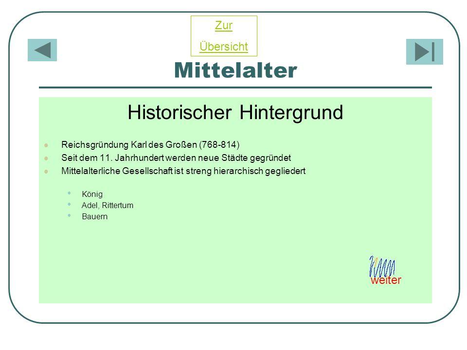 Mittelalter Historischer Hintergrund Reichsgründung Karl des Großen (768-814) Seit dem 11. Jahrhundert werden neue Städte gegründet Mittelalterliche G
