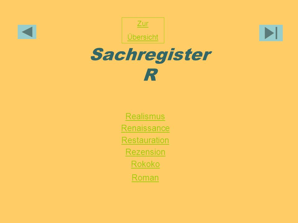 Sachregister R Realismus Renaissance Restauration Rezension Rokoko Roman Zur Übersicht