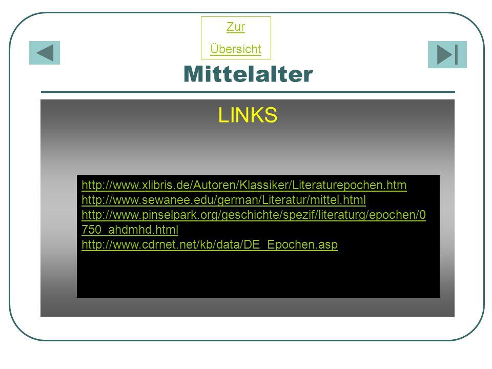Mittelalter LINKS http://www.xlibris.de/Autoren/Klassiker/Literaturepochen.htm http://www.sewanee.edu/german/Literatur/mittel.html http://www.pinselpa