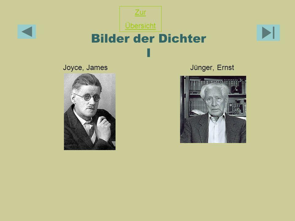 Bilder der Dichter I Joyce, JamesJünger, Ernst Zur Übersicht