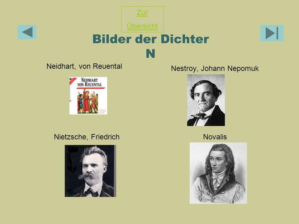 Bilder der Dichter N Neidhart, von Reuental Nestroy, Johann Nepomuk Nietzsche, FriedrichNovalis Zur Übersicht