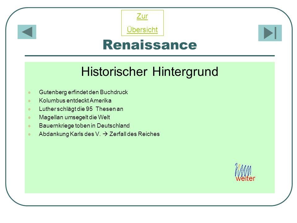 Renaissance Historischer Hintergrund Gutenberg erfindet den Buchdruck Kolumbus entdeckt Amerika Luther schlägt die 95 Thesen an Magellan umsegelt die