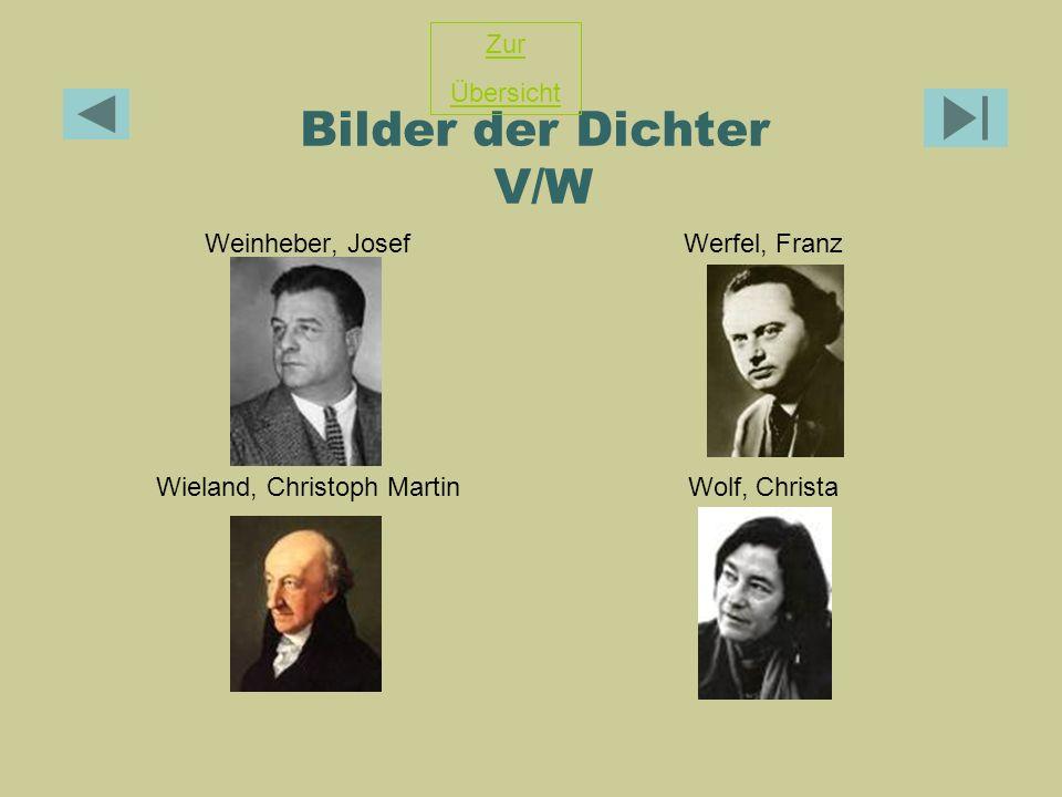Bilder der Dichter V/W Weinheber, JosefWerfel, Franz Wieland, Christoph MartinWolf, Christa Zur Übersicht