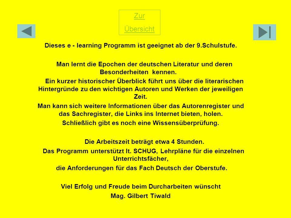 Dieses e - learning Programm ist geeignet ab der 9.Schulstufe. Man lernt die Epochen der deutschen Literatur und deren Besonderheiten kennen. Ein kurz