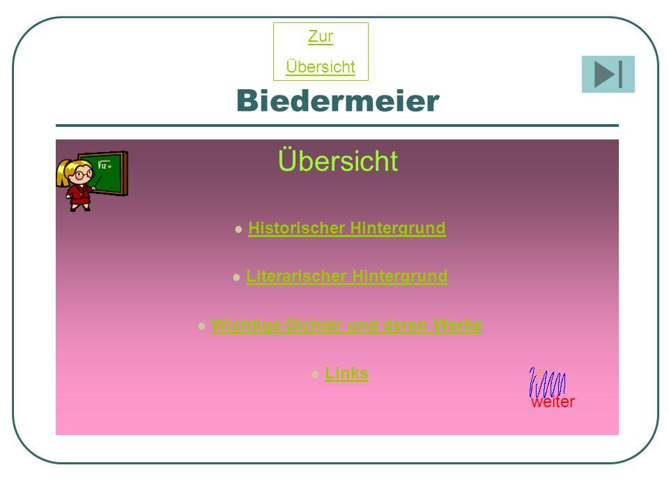 Biedermeier Übersicht Historischer Hintergrund Literarischer Hintergrund Wichtige Dichter und deren Werke Links Zur Übersicht weiter