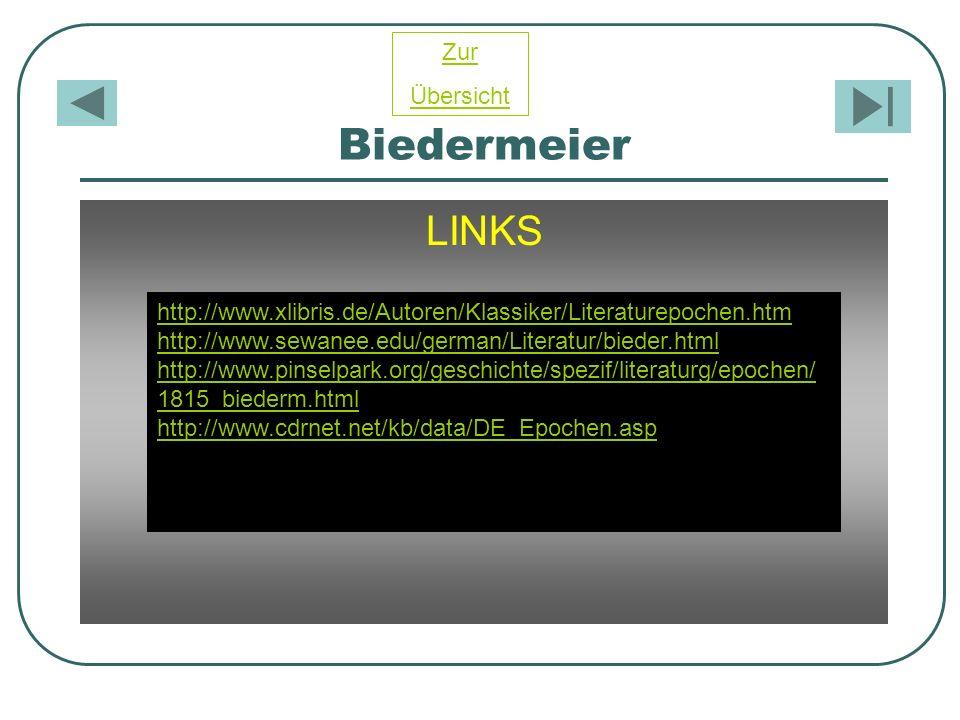 Biedermeier LINKS http://www.xlibris.de/Autoren/Klassiker/Literaturepochen.htm http://www.sewanee.edu/german/Literatur/bieder.html http://www.pinselpa
