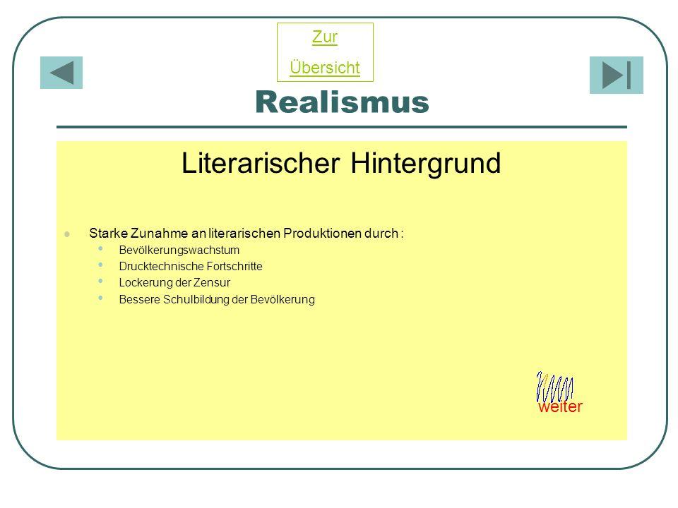 Realismus Literarischer Hintergrund Starke Zunahme an literarischen Produktionen durch : Bevölkerungswachstum Drucktechnische Fortschritte Lockerung d