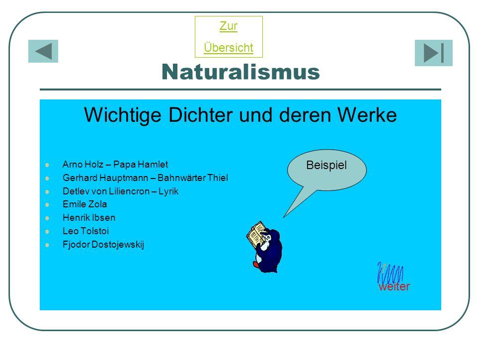 Naturalismus Wichtige Dichter und deren Werke Arno Holz – Papa Hamlet Gerhard Hauptmann – Bahnwärter Thiel Detlev von Liliencron – Lyrik Emile Zola He