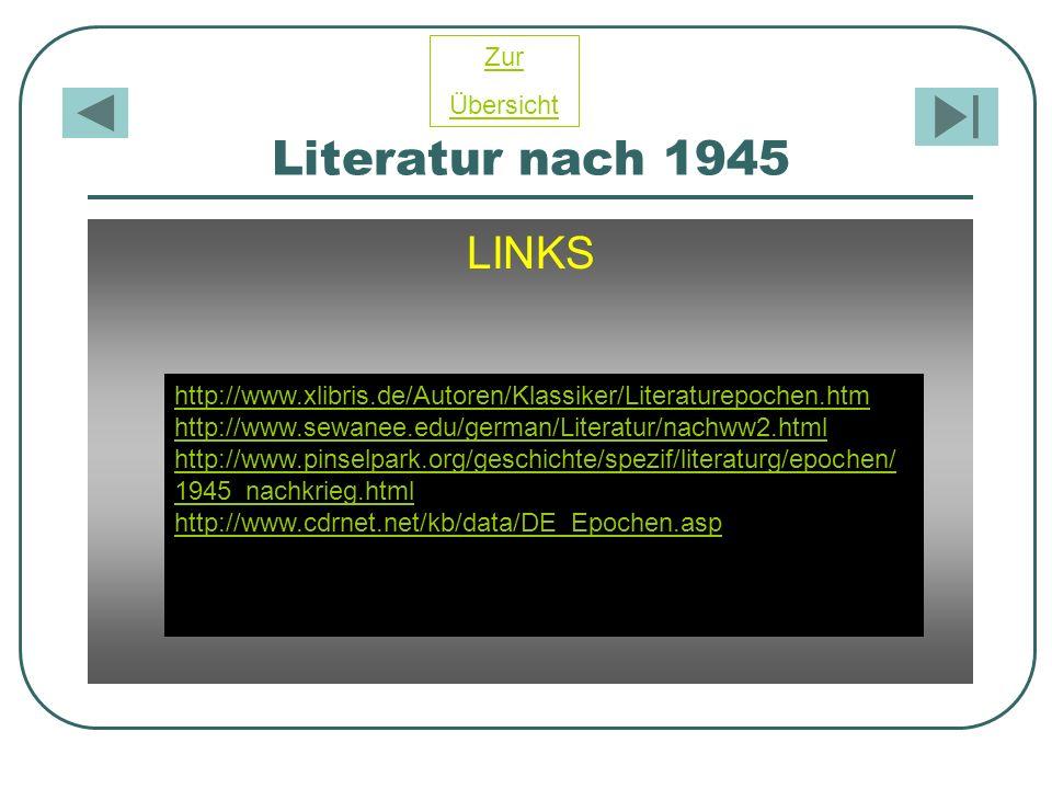Literatur nach 1945 LINKS http://www.xlibris.de/Autoren/Klassiker/Literaturepochen.htm http://www.sewanee.edu/german/Literatur/nachww2.html http://www