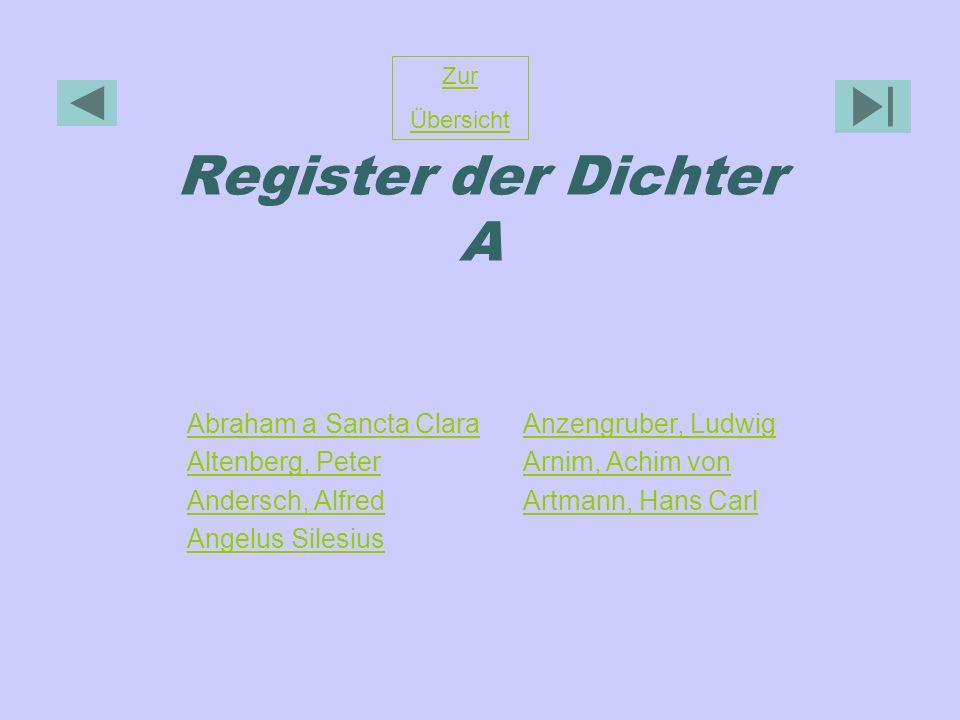 Register der Dichter A Abraham a Sancta Clara Altenberg, Peter Andersch, Alfred Angelus Silesius Anzengruber, Ludwig Arnim, Achim von Artmann, Hans Ca