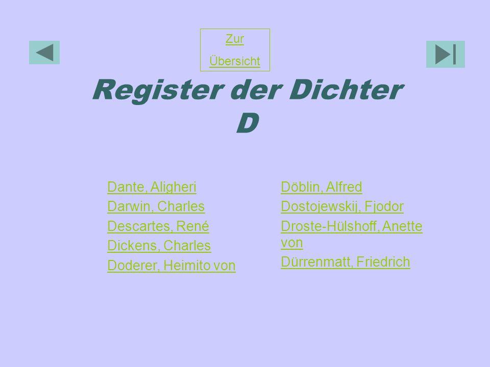 Register der Dichter D Zur Übersicht Dante, Aligheri Darwin, Charles Descartes, René Dickens, Charles Doderer, Heimito von Döblin, Alfred Dostojewskij