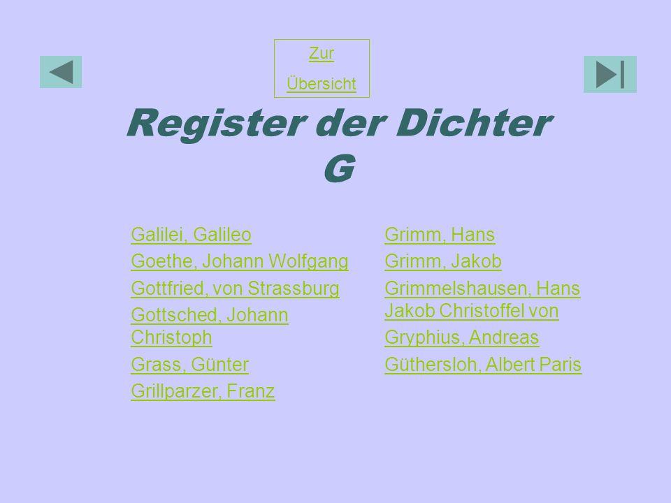 Register der Dichter G Zur Übersicht Galilei, Galileo Goethe, Johann Wolfgang Gottfried, von Strassburg Gottsched, Johann Christoph Grass, Günter Gril
